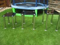 nest of 3 glass and metal tables