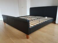 King size faux leather bed with mattress