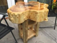 Out Door Tree Trunk Log Top Table