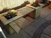 Hand made Swedish solid wood planters with bench , bird tables , delivered free