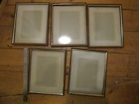 Wood picture frames. Elegant style. Gold trim. Glass included.