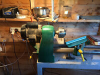Coronet 3 speed woodworking lathe with steel bench and accessories