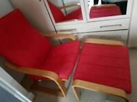 Poang Chair and foot stool