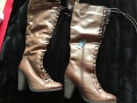 New Knee high boots brown leather size 4 from next
