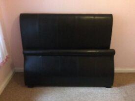 Black leather headboard