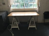 Desk with white trestle with shelves