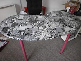 Decoupage kidney shapped table