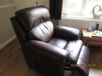 RISE & RECLINE BROWN LEATHER ARMCHAIR