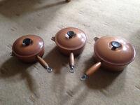Le Creuset Cast Iron Saucepan set With Lids - Size 18, 20, 22