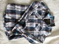Mens Superdry blue tartan long sleeved shirt for work or recreation. Good condition.