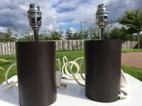 2 chocolate brown table lamps