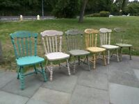 Rustic oak farmhouse large dining chairs x 6. Mix & match/ Shabby chic/bistro. Local delivery.