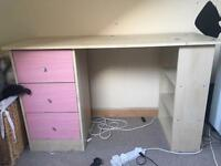 Desk with pink drawers