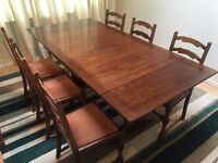Oak extending dining table and eight matching chairs 8 - nice condition - PRICE HALVED! - ��99 ONO
