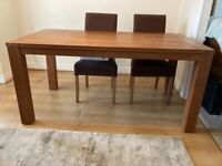Teak Effect Dining room table and 6 fabric covered chairs.