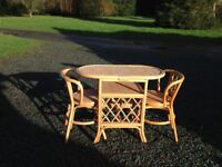 Two seater cane coffee tableand chairs