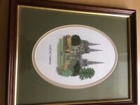 Beautiful cross stitch picture of Lichfield Cathedral, professionally framed