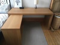 Ikea Malm Desk with Pull-Out Panel in Oak Veneer
