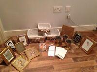 Wedding Decorations- assorted frames, baskets, advice/ game cards
