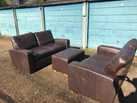 Next leather sofas x2 plus poof