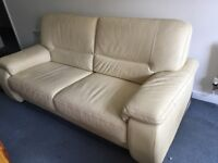 """Leather sofa ... hardly used not damaged - comfy approx 6'3"""""""" long - needs a bit of talc"""