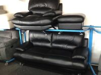 NEW / Ex DISPLAY BLACK Real Leather Samara 3 Seater and 1 Seater