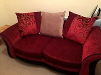 REDUCED PRICE!!!- SCS RED TWO-SEATER SOFA BED & STORAGE STOOL // BRAND NEW // GLASGOW - PICK UP ONLY