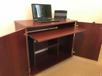 PULL OUT DESK WITH CUPBOARD STORAGE