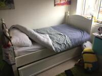 White trundle bed with brand new mattress