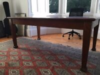 Vintage wooden writing desk with leatherette inlay - Large
