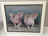 original pastel painting of two pigs on a fence - signed by artist