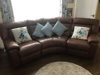 Full Leather Curved Reclining Sofa & Lazy-Boy Chair