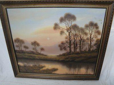 schönes Gemälde eines Sonnenuntergangs am See  signiert Beck !