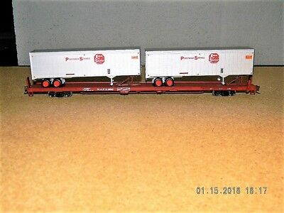 Athearn Rtr Ho Kansas City Southern 85 Flat W 2 Kcs 40 Trailers  Rated C 9 Fnw