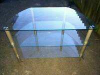 Clear glass TV table