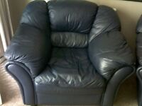 LARGE THREE PIECE BLUE LEATHER SUITE...MUST GO, BARGAIN!!
