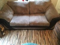 Immaculate condition two sofas and storage footstall