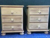 Pine Upcycled pair of bedside drawers