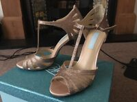 Betsey Johnson Blue - Gold Sparkly Wedding High Heel Shoes