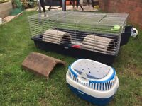 Guinea Pig Cage and Carrier and Tunnels
