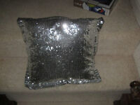 4 silver sparkly cushions