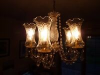 Crystal and brass chandelier - superb quality, producing sparkling light