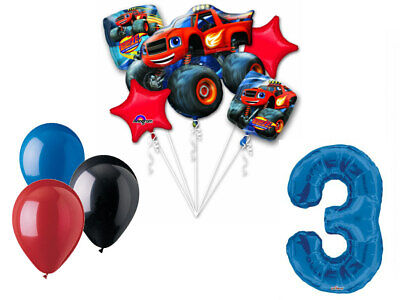 Blaze and Monster Machines Balloon Bouquet 3rd Birthday Party Supplies Trucks - Party Truck