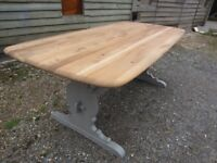 Fully Refurbished - Stunning Ercol 6ft Solid Elm Plank Refectory Dining Table Painted Farrow & Ball