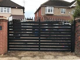 Metal steel wooden slide gate
