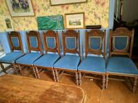 6 Victorian oak dinning chairs