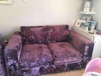 Crushed velvet 2 seater sofa and cuddler chair