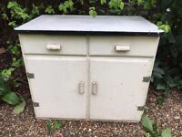 Shabby old enamel topped wooden cabinet