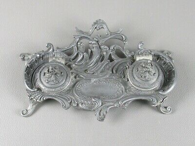 Vintage Inkwell Ornament Decoration Baroque in Pewter Period Xx Century