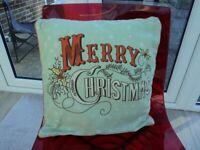 DUNELM 'MERRY CHRISTMAS' SOFA/BED CUSHION.